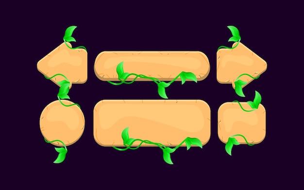 Zestaw przycisków do gry w drewniane liście