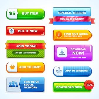 Zestaw przycisków do strony internetowej lub aplikacji.