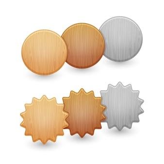 Zestaw przycisków drewna na białym tle