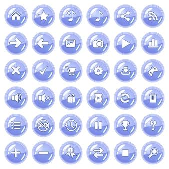 Zestaw przycisków i ikon w kolorze fioletowym.
