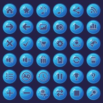 Zestaw przycisków i ikon w kolorze niebieskim do gier.