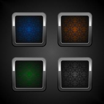 Zestaw przycisków internetowych chrom, puste kolory ozdobne tło