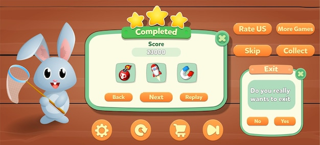Zestaw przycisków menu zasobów gry, ekrany wyskakujące ekranu tła i przyciski ustawień