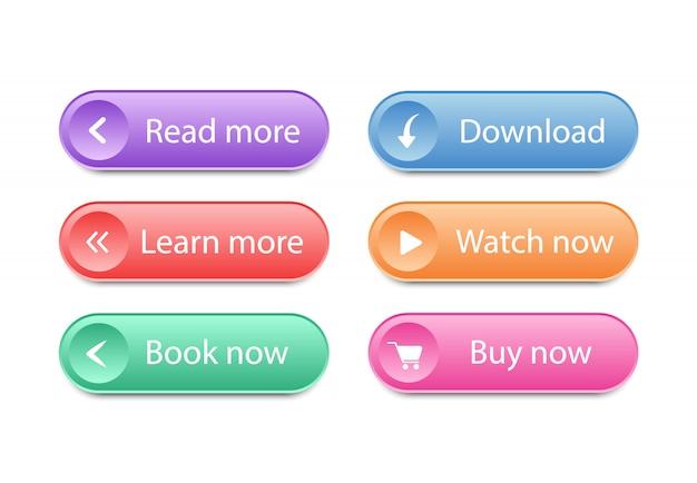 Zestaw przycisków na stronie internetowej. interfejs przycisków internetowych.