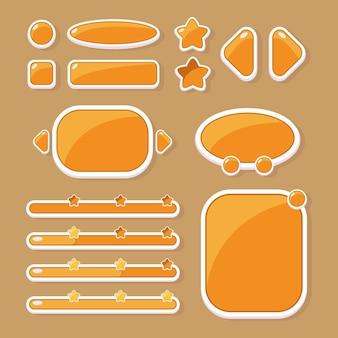 Zestaw przycisków o różnych kształtach, okienkach i paskach postępu do projektowania interfejsu użytkownika gier i aplikacji mobilnych.