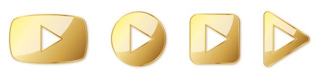 Zestaw przycisków odtwarzania złota. graj na białym tle. ilustracja. złoty symbol gry