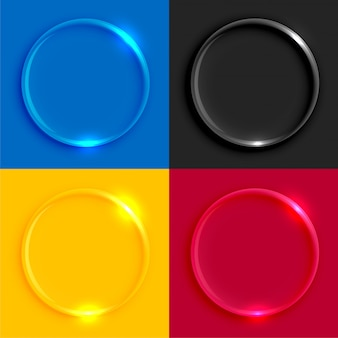 Zestaw przycisków okrągłe szklane błyszczące