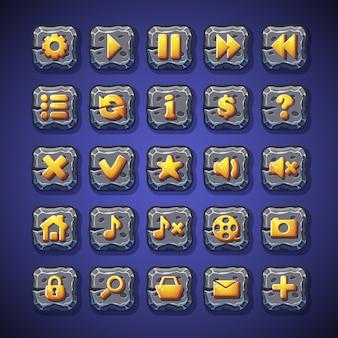 Zestaw przycisków pauza, odtwarzanie, strona główna, wyszukiwanie, koszyk do wykorzystania w interfejsie użytkownika gier komputerowych
