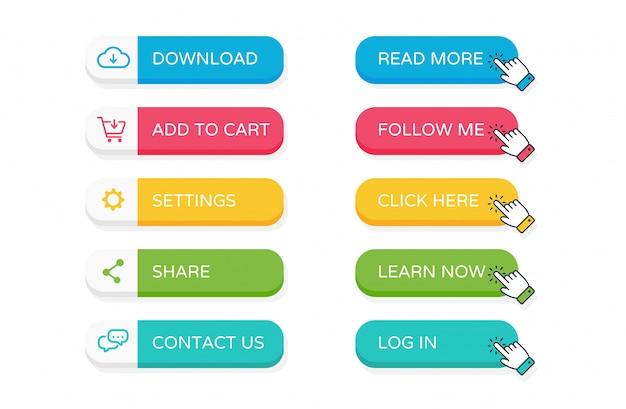 Zestaw przycisków płaski witryny sieci web
