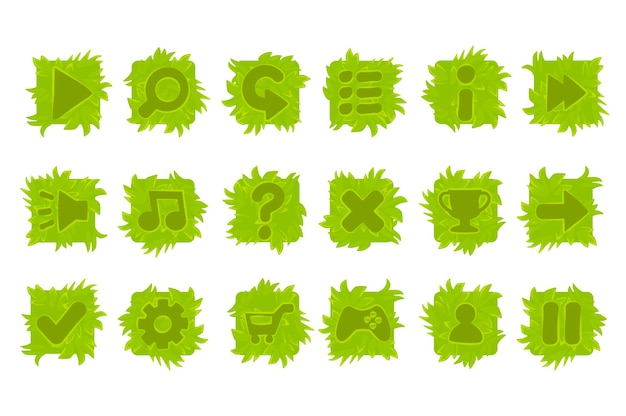 Zestaw przycisków trawy w menu gry. pojedyncze zielone ikony interfejsu.