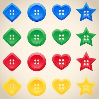 Zestaw przycisków w różnych kolorach