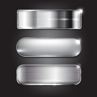 Zestaw przycisków w stylu srebrnym projekt nowoczesnego na czarnym tle