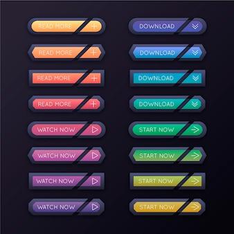 Zestaw przycisków wezwania do działania w kolorze gradientu