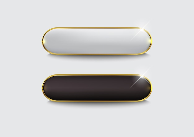 Zestaw przycisków www błyszczące czarne złoto
