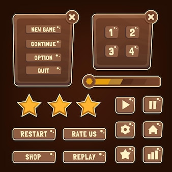 Zestaw przycisków zaprojektowany interfejs użytkownika gry ilustracja gui dla komputerów z grami wideo
