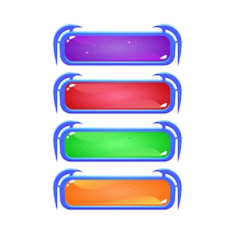 Zestaw przycisku galaretki fantasy w różnych kolorach dla elementów aktywów interfejsu gry