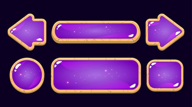 Zestaw przycisku galaretki fioletowy z drewnianą obwódką. idealny do gier 2d