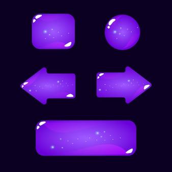 Zestaw przycisku gry ui fioletowy galaretki