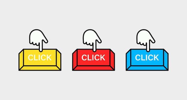 Zestaw przycisku kliknij tutaj z kursorem dłoni naciśnij dla aplikacji i strony internetowej