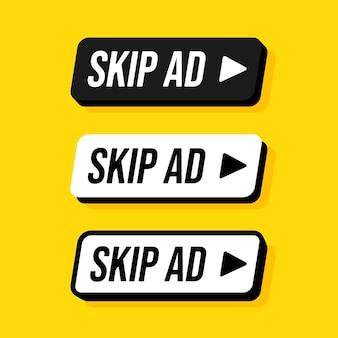 Zestaw przycisku pomijania reklamy z zaokrąglonym prostokątem. ilustracje. zatrzymaj reklamy. czarno-białe guziki z napisem na żółtym tle.