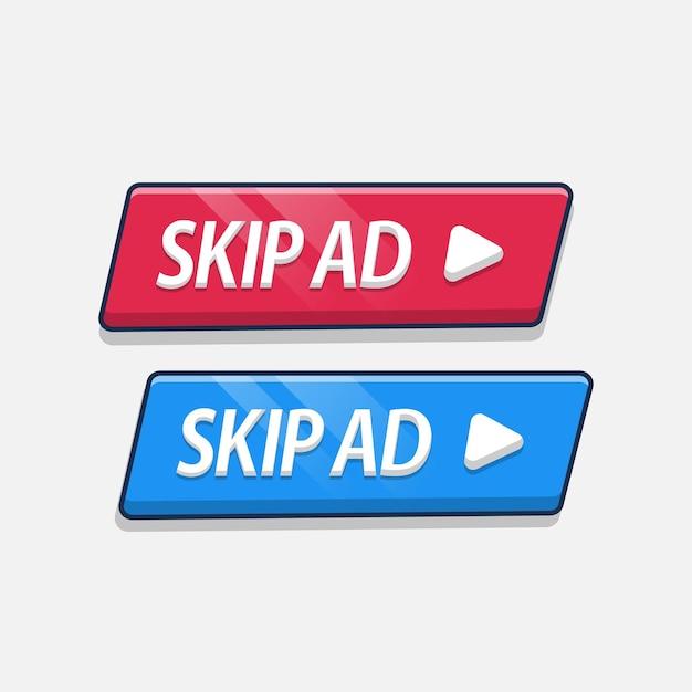 Zestaw przycisku pomijania reklamy z zaokrąglonym prostokątem