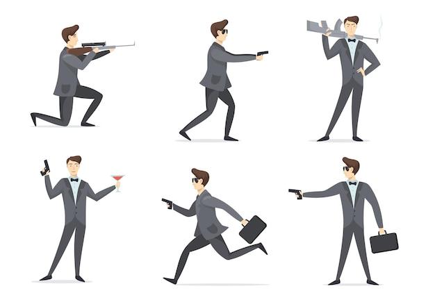 Zestaw przygód wysłannika. tajny agent szpiegowski, mierzący broń, używając pistoletu, pijąc koktajl. płaska ilustracja