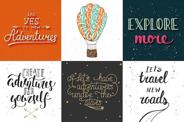 Zestaw przygody i podróży ręcznie rysowane typografii