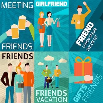 Zestaw Przyjaciół Mini Poster Darmowych Wektorów