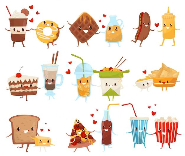 Zestaw przyjaciół na zawsze, słodkie śmieszne jedzenie i napoje postaci z kreskówek, fast food menu ilustracja na białym tle