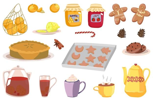 Zestaw przytulnych atrybutów czasu zimowego. rysunki domowych potraw, piekarni, gorących napojów. ręcznie rysowane ilustracje wektorowe. kolekcja cliparts kreskówka na białym tle.