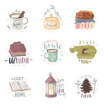Zestaw przytulnych emblematów hygge. zestaw emblematów na temat domowego komfortu. przytulne przedmioty i hygge napisy.