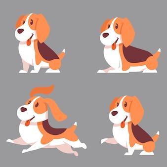 Zestaw psów beagle w różnych pozach. zwierzęta w stylu kreskówki.