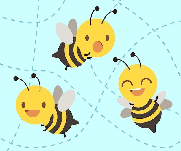 Zestaw pszczół znaków