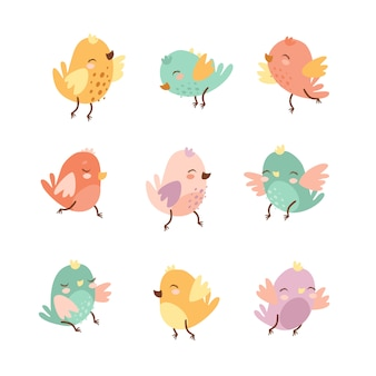 Zestaw ptaków cute bazgroły