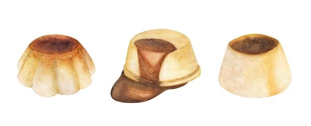 Zestaw puddingów waniliowych. ilustracje akwarelowe.
