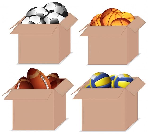 Zestaw pudeł pełen różnych rodzajów piłek