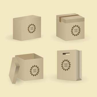 Zestaw pudełek i paczek. ilustracji wektorowych