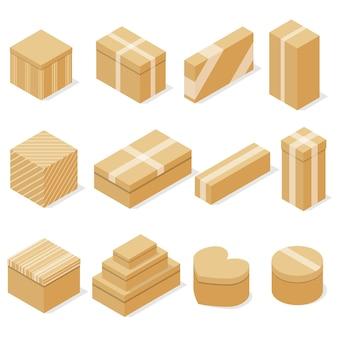 Zestaw pudełek kartonowych. płaski izometryczny. pojemnik na towary. pakowanie, przechowywanie i transport. dostawa w paczce. ilustracja wektorowa.
