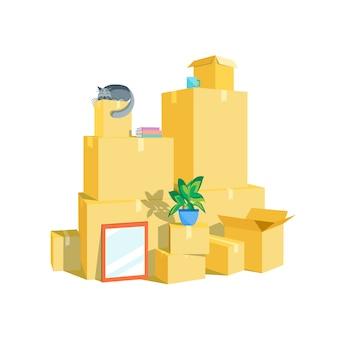 Zestaw pudełek kartonowych. ruchoma koncepcja. styl płaska konstrukcja. ilustracja