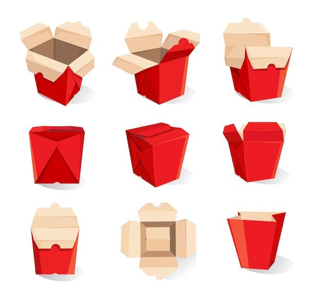 Zestaw pudełek na jedzenie na wynos na białym tle, kartonowe opakowanie makaronu
