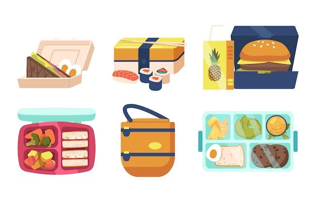 Zestaw pudełek na lunch i bento, kolekcja lunchboxów z kolacją, fast food i zdrowe warzywa w pojemnikach i torbach. pakowane posiłki na białym tle. ilustracja kreskówka wektor