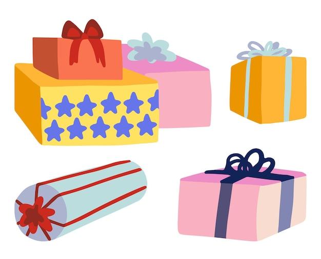 Zestaw pudełek na prezenty. kolorowe gryzmoły kreskówek atrybutów wakacje. ręcznie rysowane ilustracje wektorowe. kolekcja clipartów na białym tle.