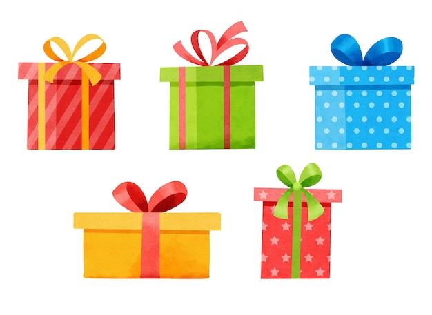 Zestaw pudełek na prezenty na białym tle. akwarela boże narodzenie i nowy rok zestaw z pudełkami prezentowymi.