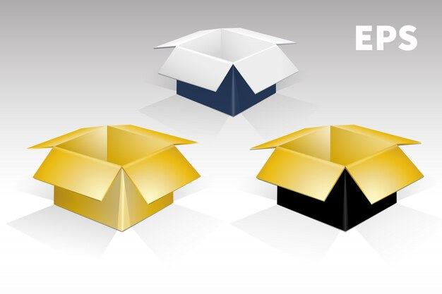 Zestaw pudełek o różnych kolorach