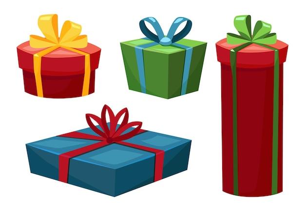 Zestaw pudełek prezentowych o różnych kształtach ilustracji