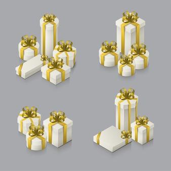Zestaw pudełek prezentowych z kokardkami i wstążkami. izometryczne ilustracja na białym tle. realistyczne ikony.