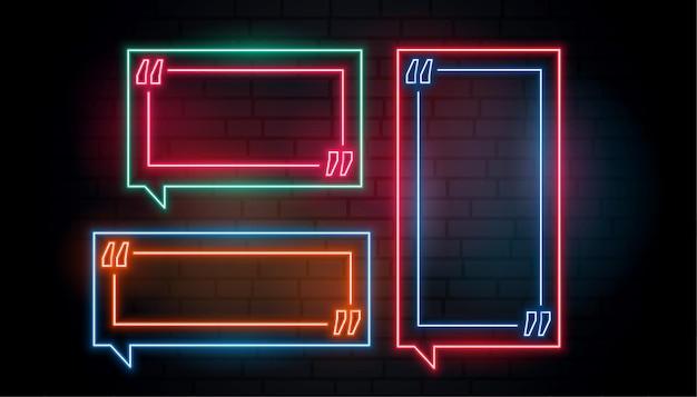 Zestaw pudełek z cytatami w neonowej ramce
