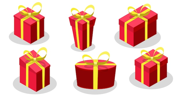 Zestaw pudełko z czerwonym kolorze żółty łuk i wstążki na białym tle.