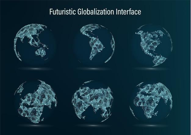 Zestaw punktów mapy świata