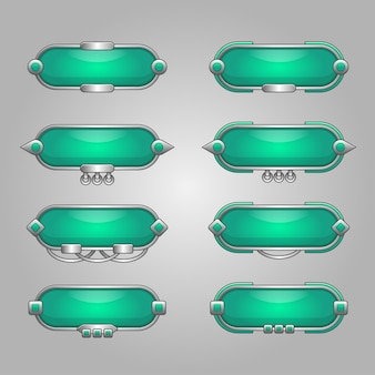 Zestaw pustego transparentu lub pola wykorzystania na ilustracji projektowania gry